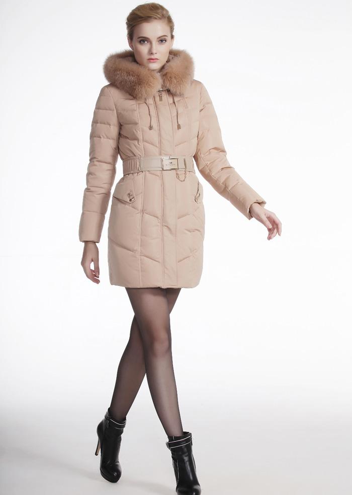 威伦蒂秋冬季女装羽绒服修身显瘦狐狸毛加厚中长款爆款羽绒服