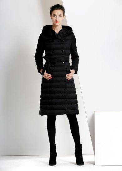 威伦蒂2015新款长款羽绒服大牌欧美风修身显瘦女