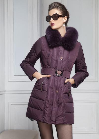 威伦蒂新款白鸭绒带毛领修身中长款女士羽绒服