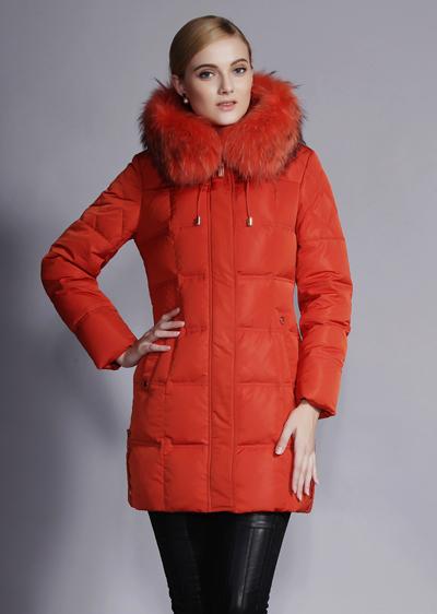 威伦蒂秋冬季女装羽绒服 修身显瘦大毛领加厚中长款羽绒服
