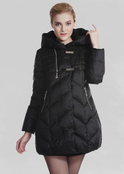 秋冬季女装羽绒服 修身显瘦连帽加厚中长款羽绒服 威伦蒂加盟