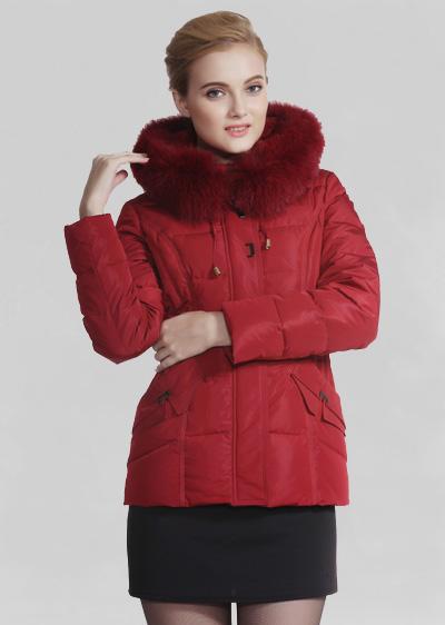 秋冬季女装威伦蒂羽绒服 修身显瘦貉子毛加厚中长款羽绒服
