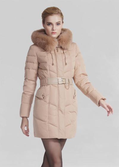 威伦蒂秋冬季女装修身显瘦狐狸毛加厚中长款爆款白鸭绒羽绒服