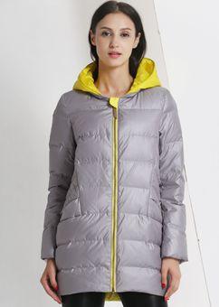 万博最新版下载2015新款韩版A字万博体育世杯版女中长款冬装撞色连帽外套