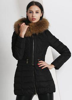 万博最新版下载2015冬装新款貉子毛领韩版时尚轻薄万博体育世杯版女中长修身款外套