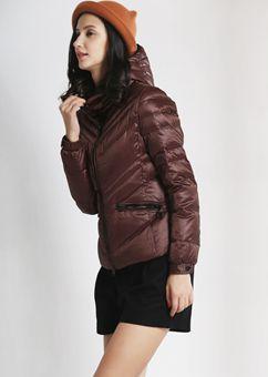 2015新款韩版修身羽绒服女 短款缎面连帽时尚白鸭绒羽绒服外套